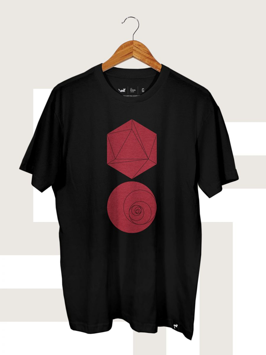 Camiseta Preta Hexagon and Circle