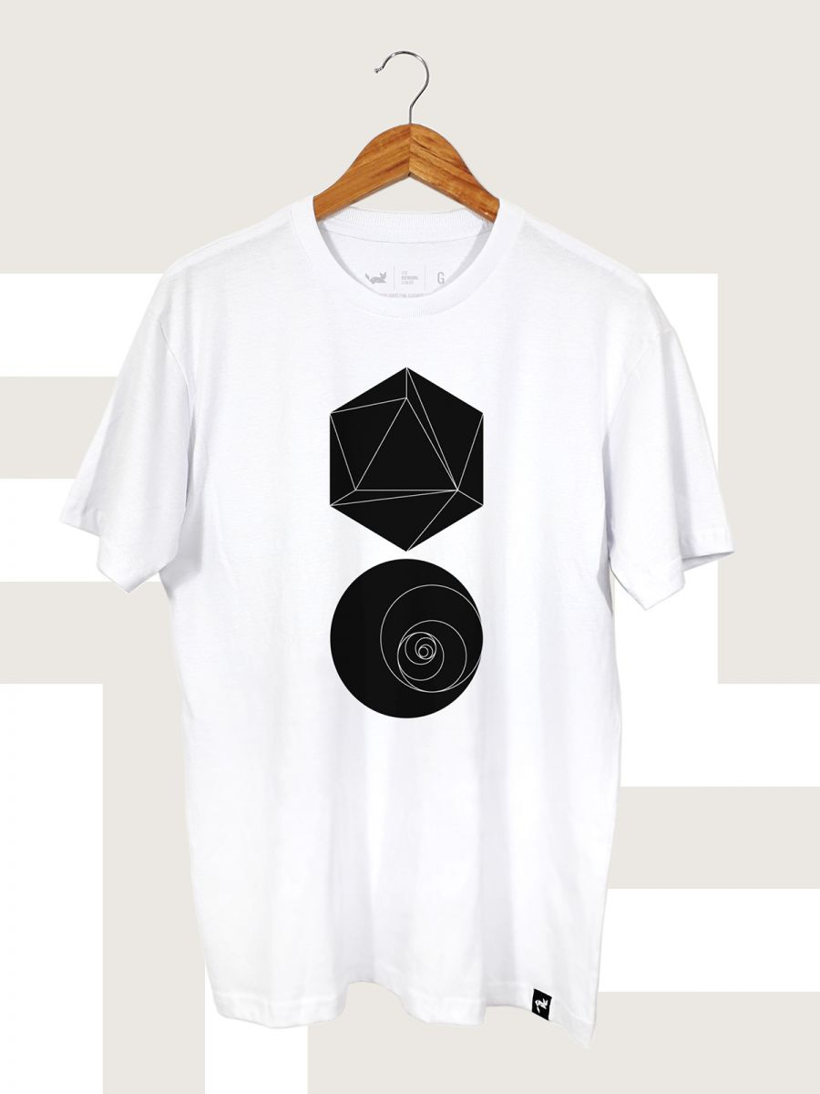 Camiseta Branca Hexagon and Circle