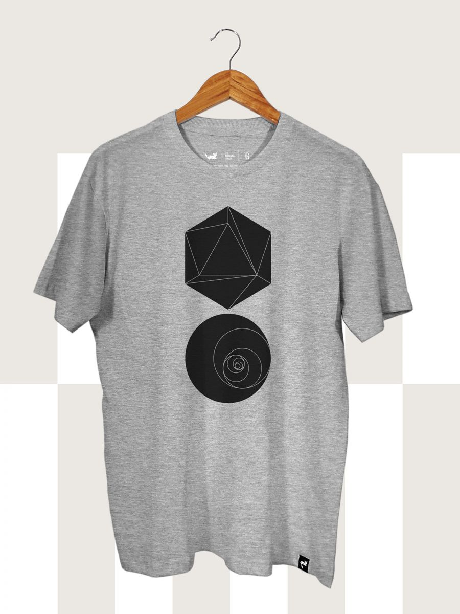 Camiseta Cinza Mescla Hexagon and Circle