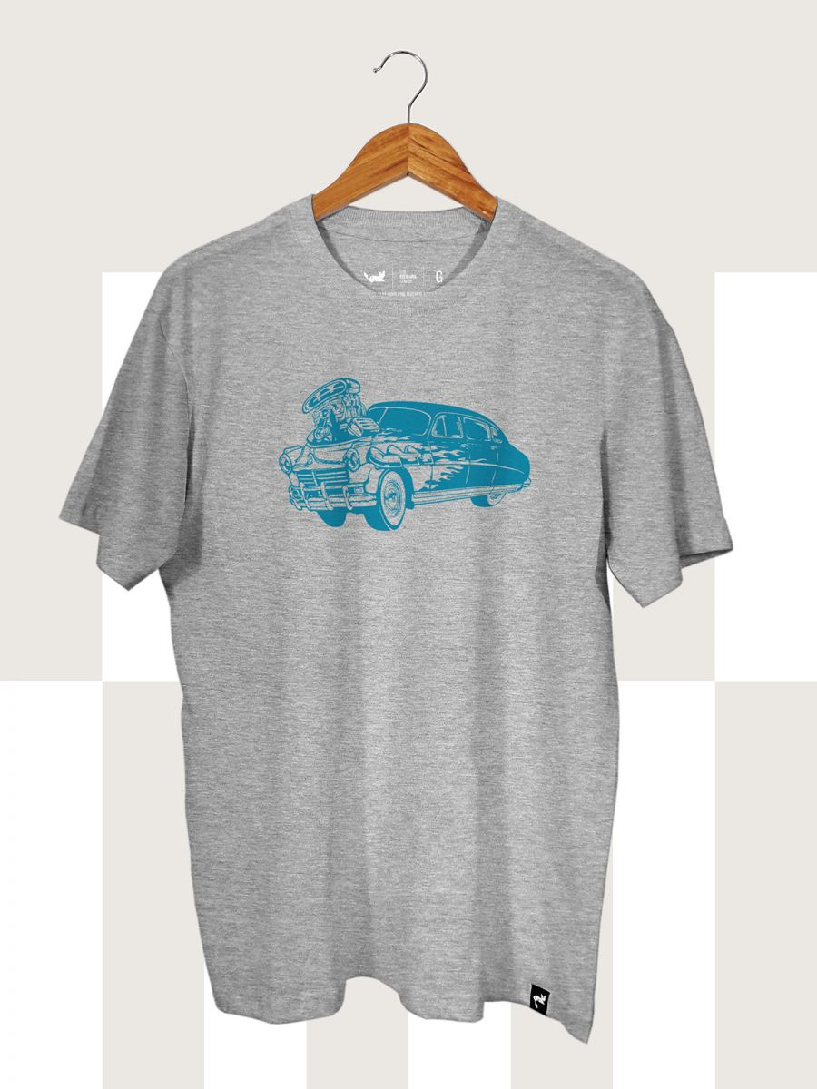 Camiseta Cinza Mescla Hot Rod