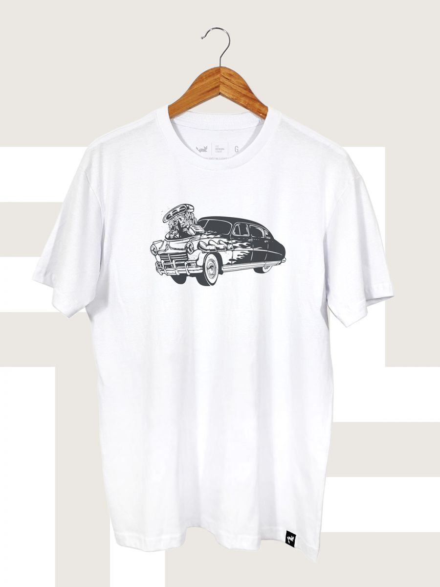 Camiseta Branca Hot Rod