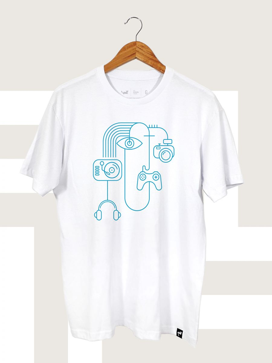 Camiseta Branca Multimedia Line Art