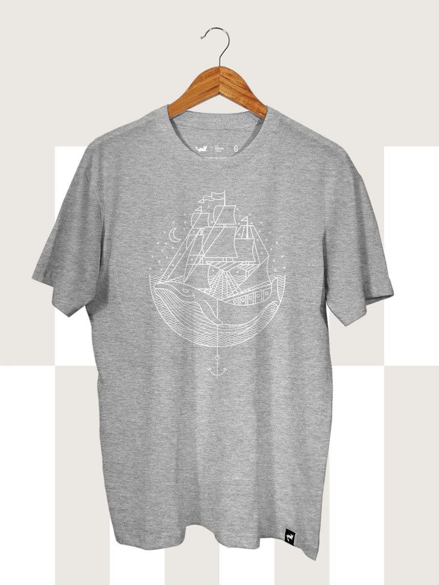 Camiseta Cinza Mescla Whale and Sail
