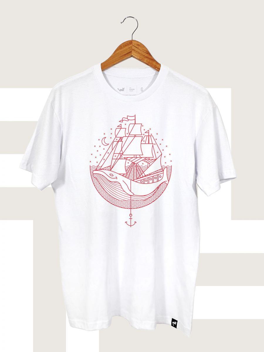 Camiseta Branca Whale and Sail